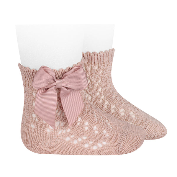 Rosa Palo Openwork Short Socks With Bow