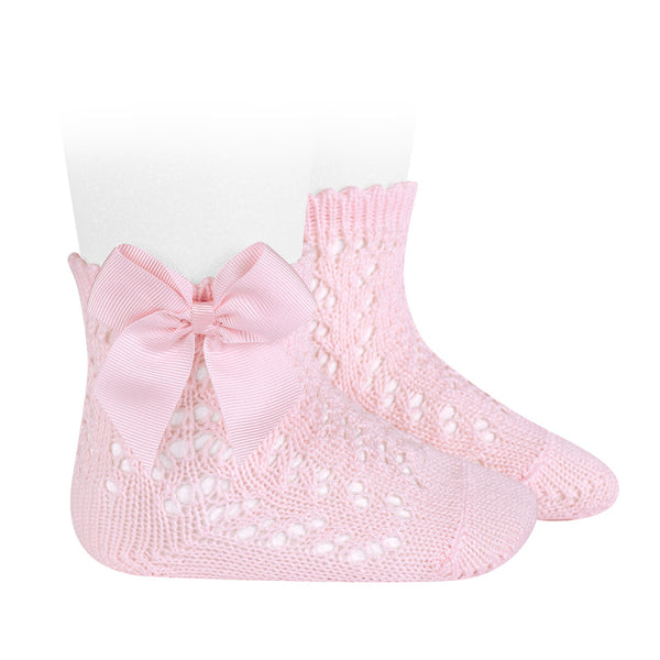 Pink Openwork Short Socks With Bow