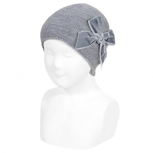 CONDOR Grey Velvet Bow Hat