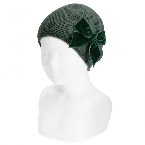 CONDOR Dark Green Velvet Bow Hat