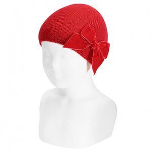 CONDOR Red Velvet Bow Hat