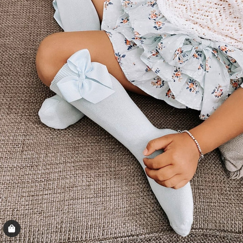 CONDOR Baby Blue Knee-High Sock with Bow