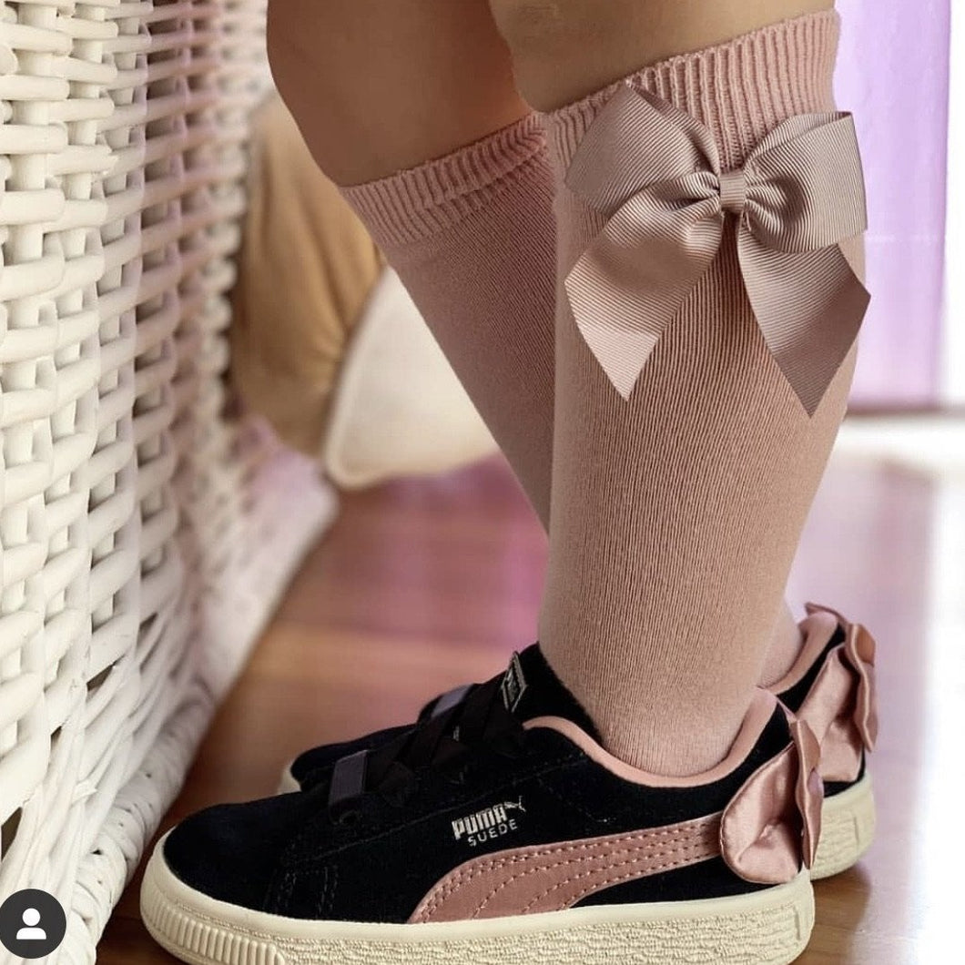 Rosa Pink Condor Knee-High Sock with Bow
