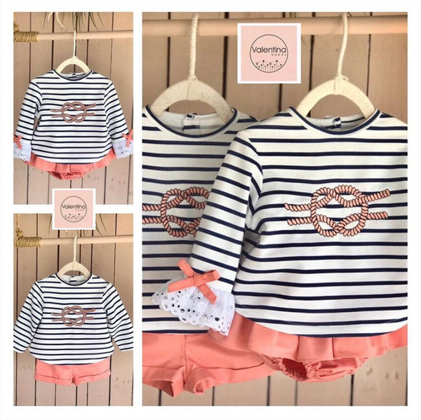 VALENTINA Girls Striped Short Set