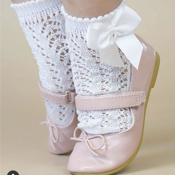 White Openwork Short Socks With Bow