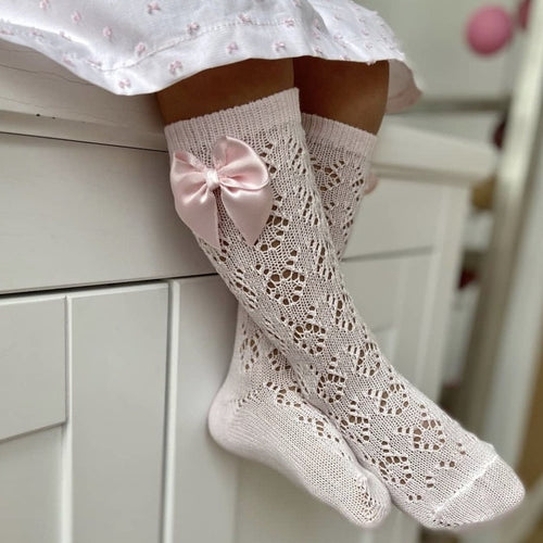 Pink Geometric Openwork Knee-High Socks
