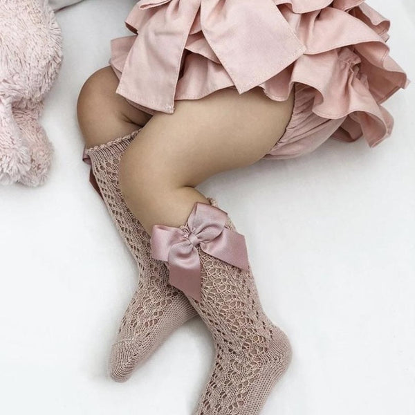 CONDOR Old Rose Openwork Knee High Sock with Bow