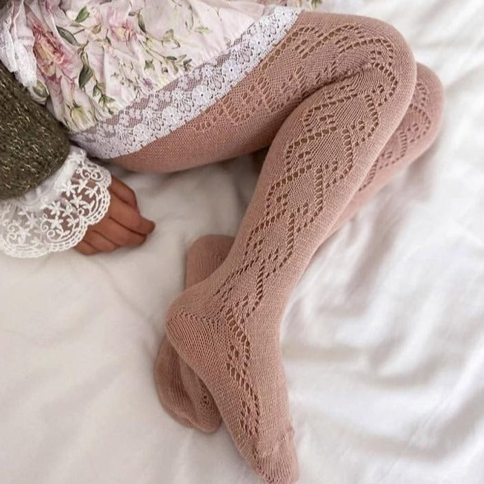 CONDOR Dusky Pink Wool Side Openwork Tights
