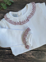 BABIDU Long Sleeve Bodysuit with burgundy embroidered trim