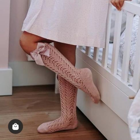 CONDOR Rosa Palo Openwork Knee High Sock with Bow