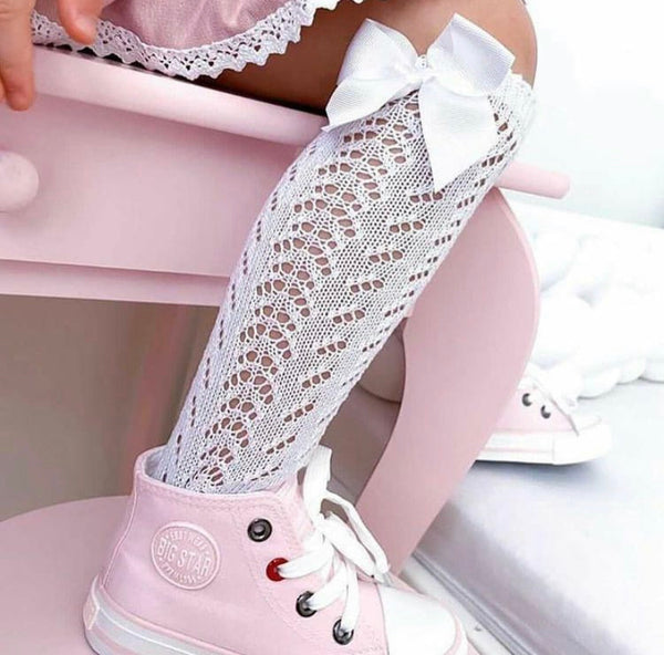 CONDOR White Openwork Knee High Sock with Bow