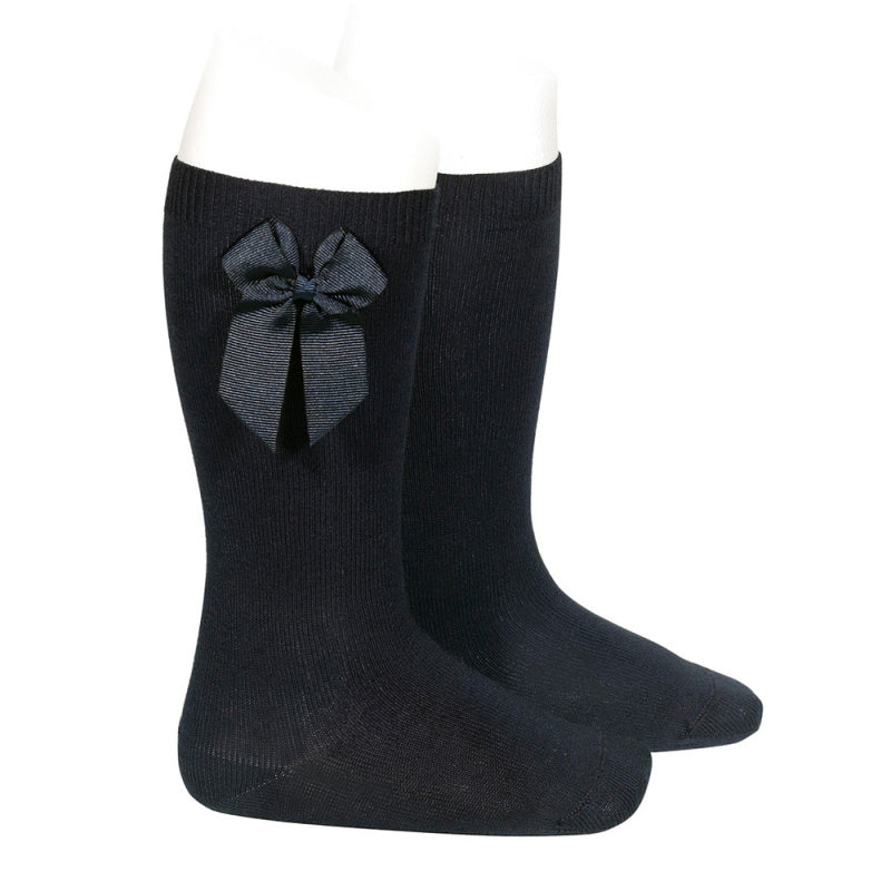 Black Condor Knee-High Sock with Bow