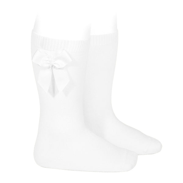 CONDOR White Knee-High Sock with Bow