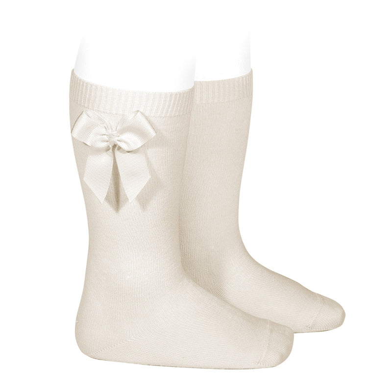 Linen Condor Knee-High Sock with Bow