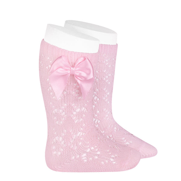 CONDOR Pink Geometric Openwork Knee-High Socks