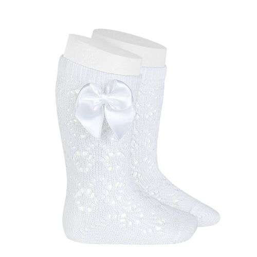 White Geometric Openwork Knee-High Socks