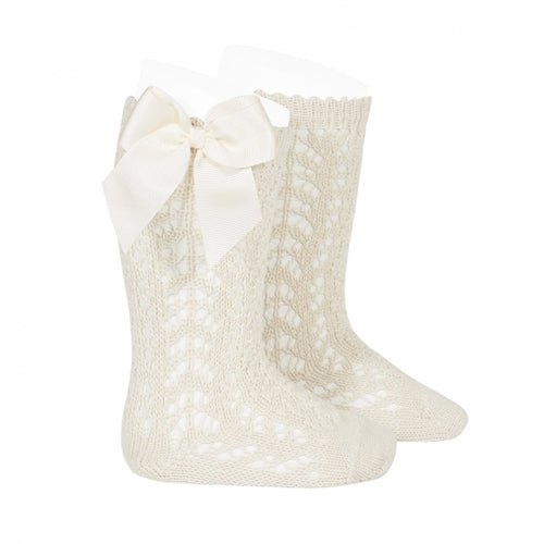 Condor Linen Openwork knee high sock with bow