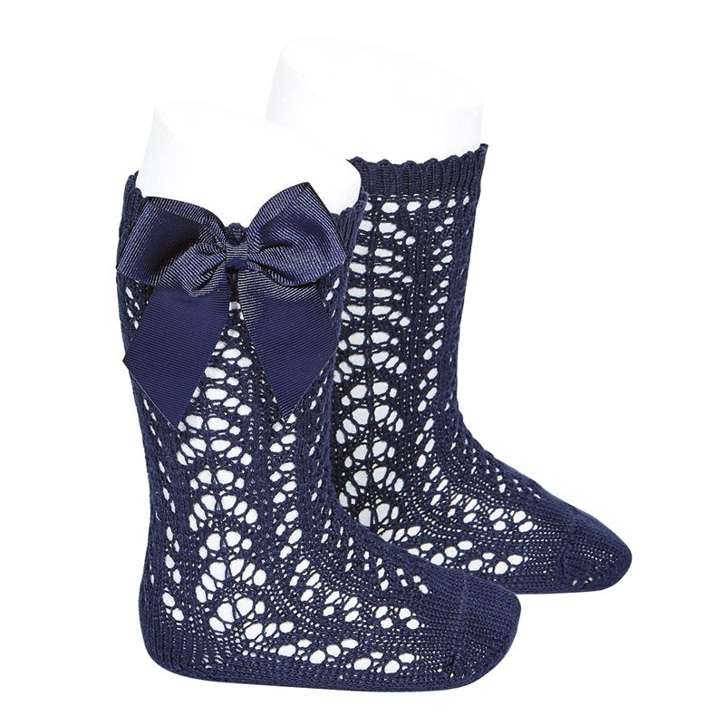 Navy Condor Perle Openwork Knee High Sock with Bow