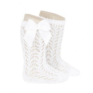 White Condor Perle Openwork Knee High Sock with Bow