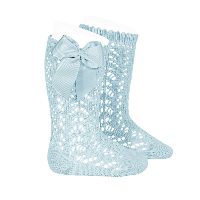 Aquamarine Condor Perle Openwork Knee High Sock with Bow