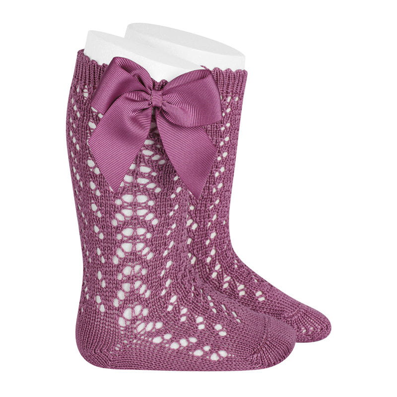 Cassis Condor Perle Openwork Knee High Sock with Bow