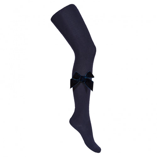 Navy Velvet Bow Tights
