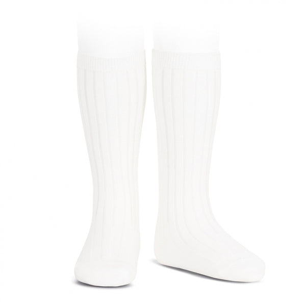 White Knee High Ribbed Socks