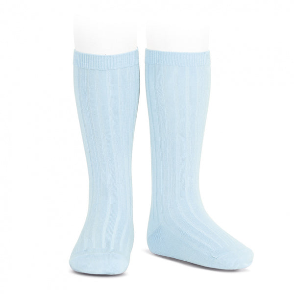 Baby Blue Knee High Ribbed Socks