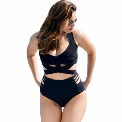 XL - 3XL Plus size swimwear women Black cross wrap bikini set female High waist swimsuit large size bathing suit swim wear Y132