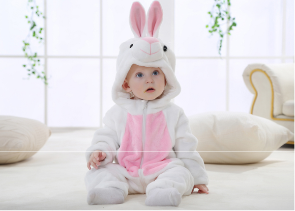 Cute Animal White Rabbit Winter Baby Rompers for boys girls