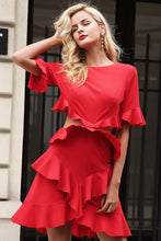 Simplee Elegant hollow out sexy dress women 2017 Ruffle flare sleeve autumn dress Red fashion winter dress party vestidos