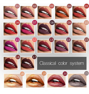 Pudaier Waterproof Liquid Lip Gloss Metallic Matte 21 Colors
