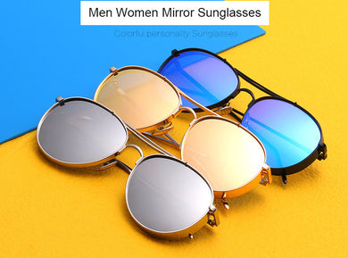 Fashion Metal Wrap Pilot Sunglasses Women Men Famous Brand Designer Aviation Mirror Sun Glasses