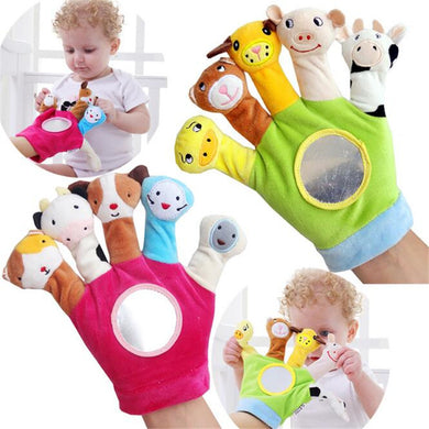 Glove Cartoon Animal Finger  Plush Toys  On Fingers Biological Children Baby Doll Kids Educational Hand Puppets Toy
