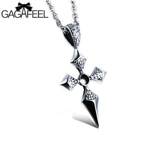 GAGAFEEL  Punk Cross Pendant Necklace Stainless Steel Fine Jewelry Men Male Snakes Crocodile Pattern Link Chain Collier N1007