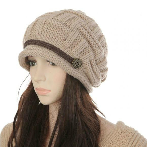 Fashion Women Kintting Beanie Warm Casual Solid Hat Cap Winter Hats for Girls