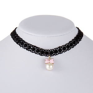 Women Lace Choker Necklace Gothic Bow-knot Pendant Jewelry Necklaces Black