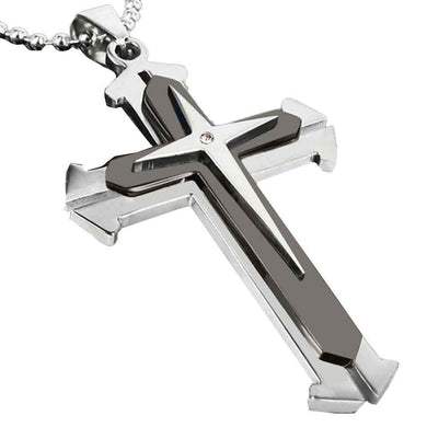 Unisex Men Women Stainless Steel Cross Pendant Necklace Chain