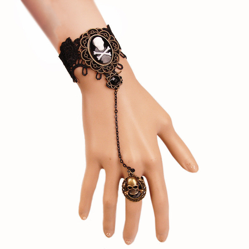 Charming Skull Head Black Lace Bracelet With One Chain Ring Trendy Party Jewelry
