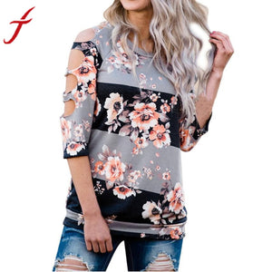 Sexy Hole T-shirt Women Off Shoulder Shirt Casual Loose Tops Ladies Floral Printing Multicolor 2018 Hot Summer Shirt	Femme