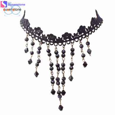 SUSENSTONE Fashion Women's necklace Black Lace Tassel Chain Pendant Choker Bib Collar Necklaces