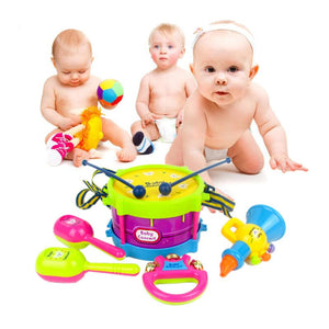 5pcs Educational Baby Kids Roll Drum Musical Instruments Band Kit Musical Toy Set Baby Grasp Hand Bell Music Early Education Toy