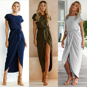 Women Short Sleeve Front Fork Long Dresses 2018