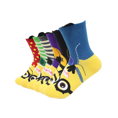 6 Pairs Minion Women Socks 2019