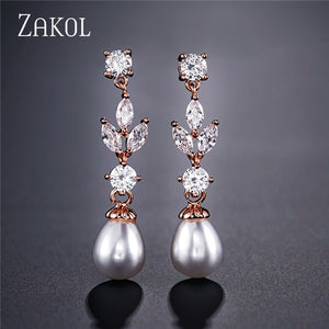 Zircon Pendant Earrings