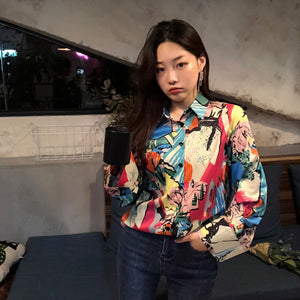 Colorful Cheerart Printed Blouse