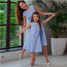 Blue Check Frock Mom and Daughter Dress 50% Off