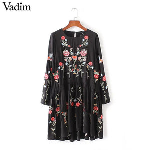 women vintage floral embroidery A-line dress long sleeve o-neck ladies spring autumn casual streetwear dresses vestidos QZ2620