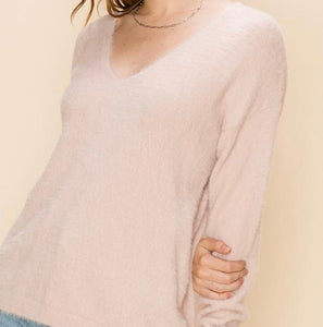 Metallic Plush V-Neck Pullover Sweater