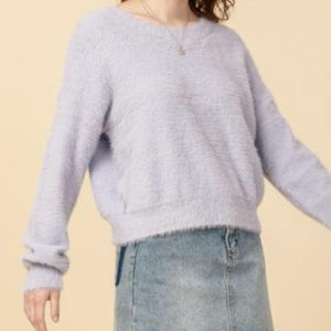 Plush Crew Neck Cropped Pullover Sweater